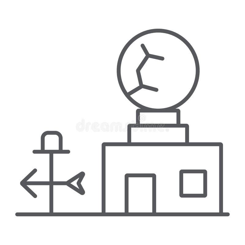 Tunn linje symbol för väderstation, anemometer och prognos, meteorogical stationstecken, vektordiagram, en linjär modell på royaltyfri illustrationer