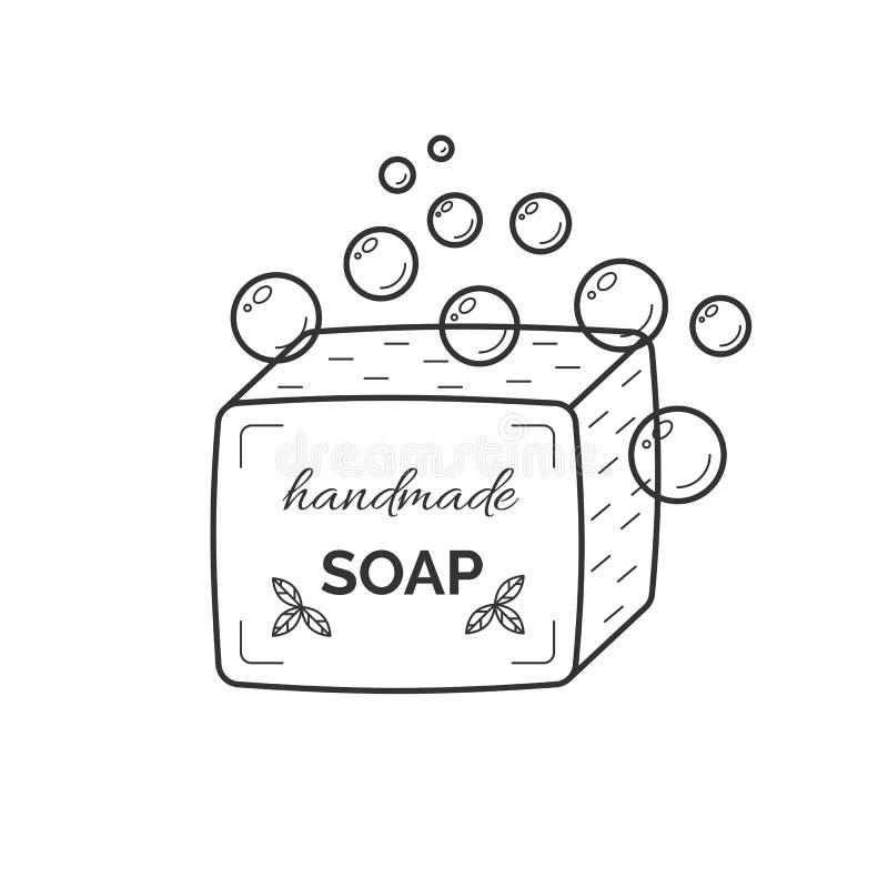 Tunn linje symbol för vektor av naturlig organisk handgjord tvål stock illustrationer