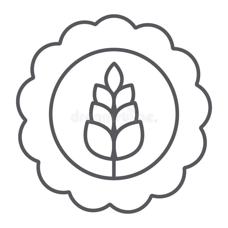 Tunn linje symbol för vetebage, drink och bryggeri, tecken för hantverkölbage, vektordiagram, en linjär modell på ett vitt royaltyfri illustrationer