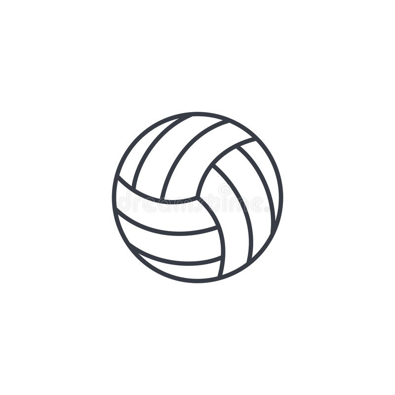 Tunn linje symbol för volleybollboll Linjärt vektorsymbol vektor illustrationer
