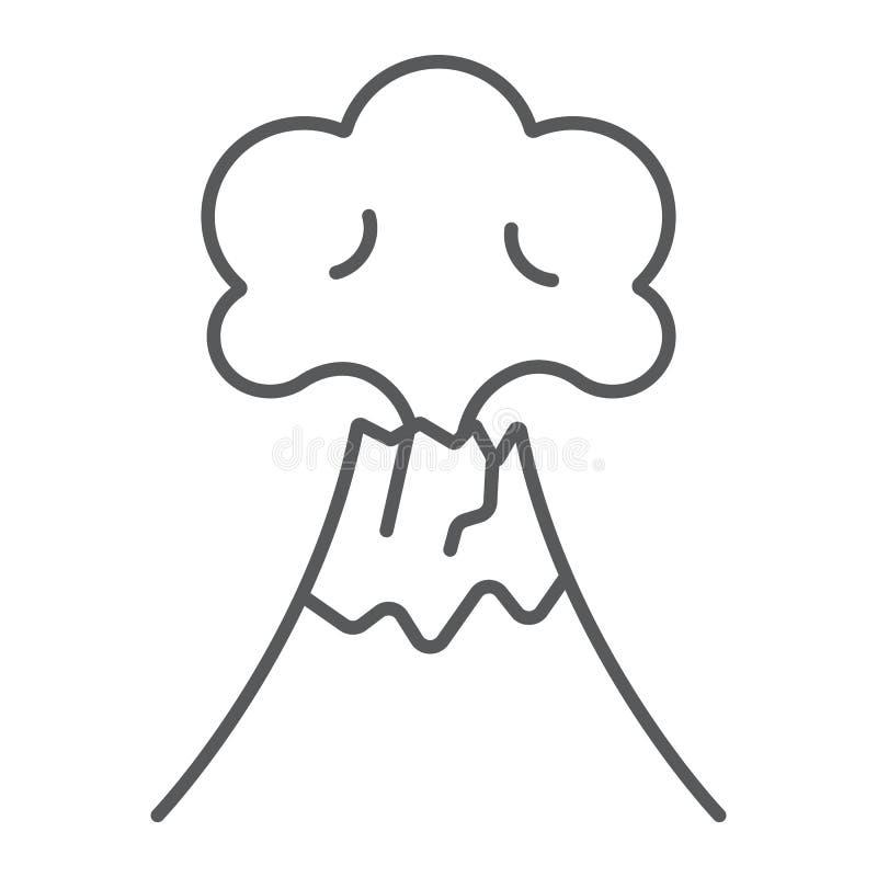 Tunn linje symbol för vulkanutbrott, katastrof och explosion, vulkan som får utbrott tecknet, vektordiagram, en linjär modell på  vektor illustrationer
