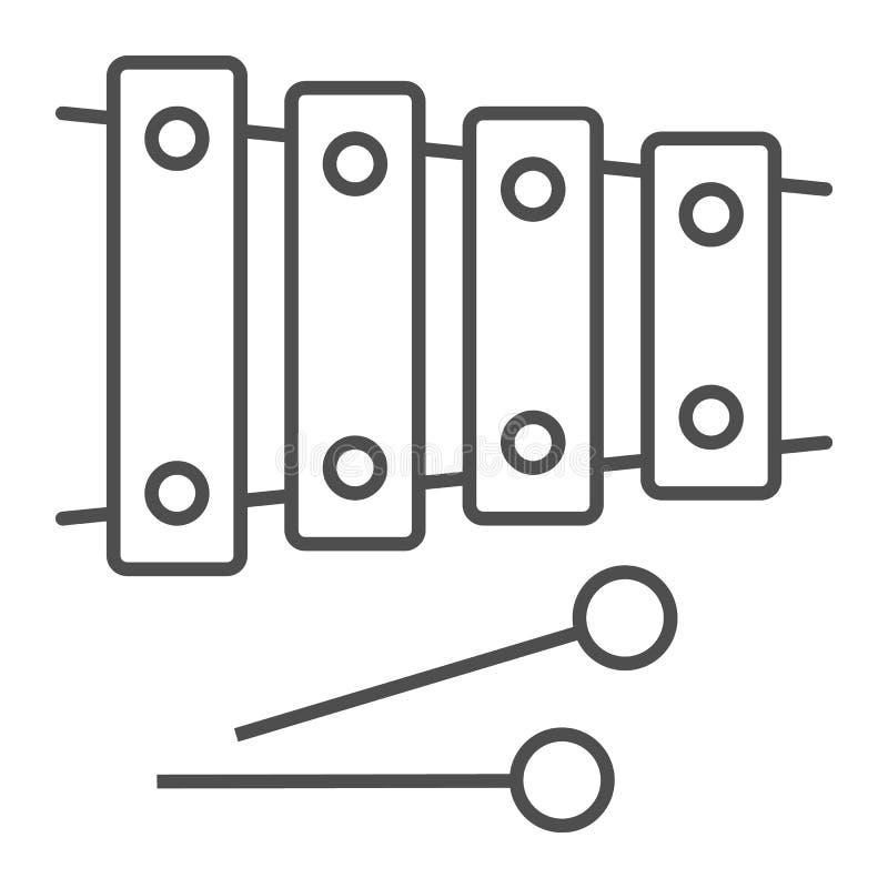 Tunn linje symbol för xylofon, musikal och slagverk, instrumenttecken, vektordiagram, en linjär modell stock illustrationer