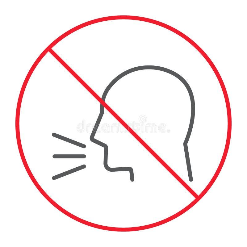 Tunn linje symbol, förbud för uppehälletystnad royaltyfri illustrationer