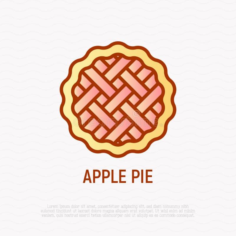 Tunn linje symbol f?r ?ppelpaj Modern illustration av bagerit royaltyfri illustrationer