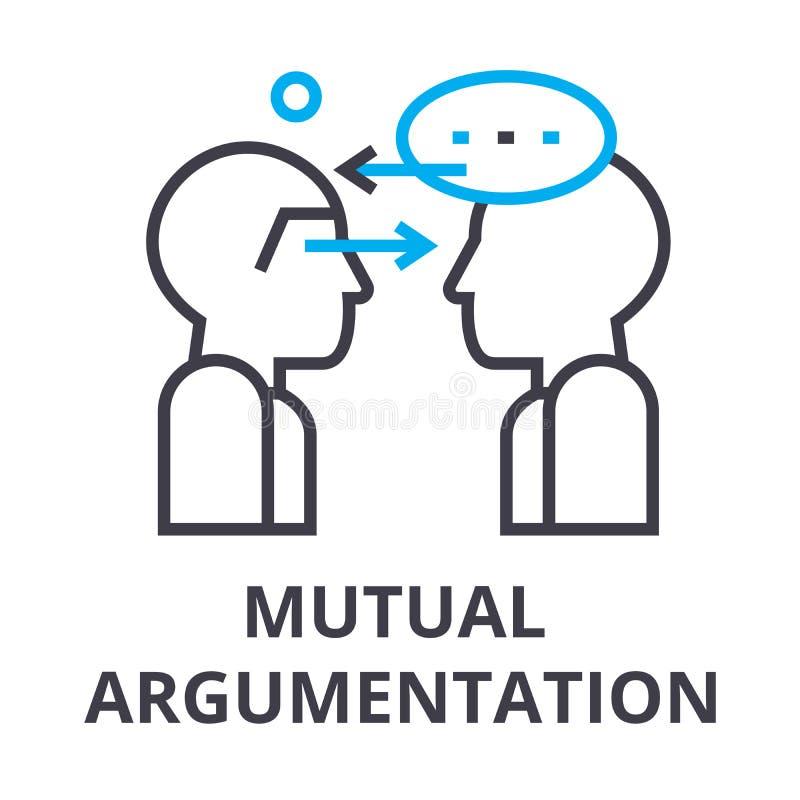 Tunn linje symbol, tecken, symbol, illustation, linjärt begrepp, vektor för ömsesidig argumentation stock illustrationer
