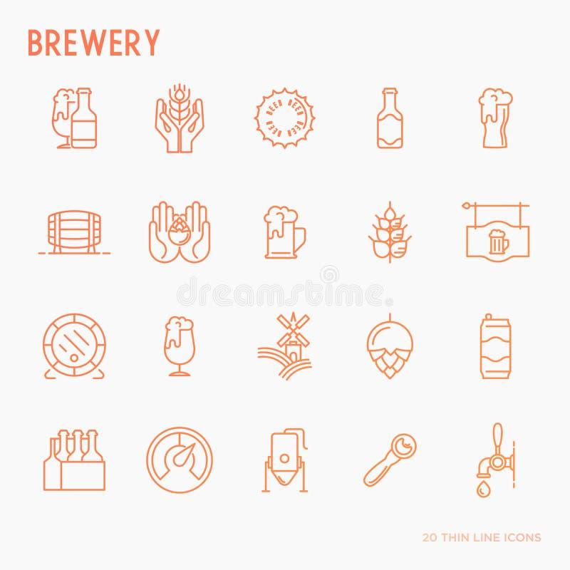 Tunn linje symboler för öl släkta bryggeriet stock illustrationer