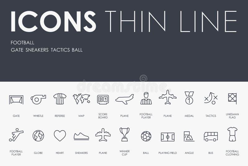 Tunn linje symboler för fotboll vektor illustrationer