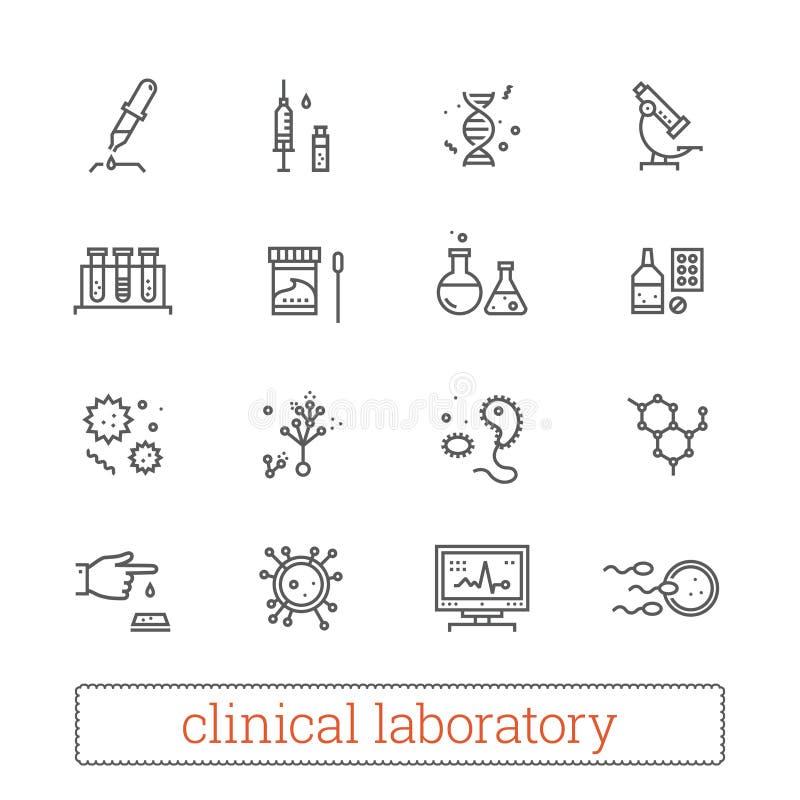 Tunn linje symboler för kliniskt laboratorium: medicinvetenskap, virologistudie, mikrobiologianalys, genetik, medicinsk utrustnin stock illustrationer