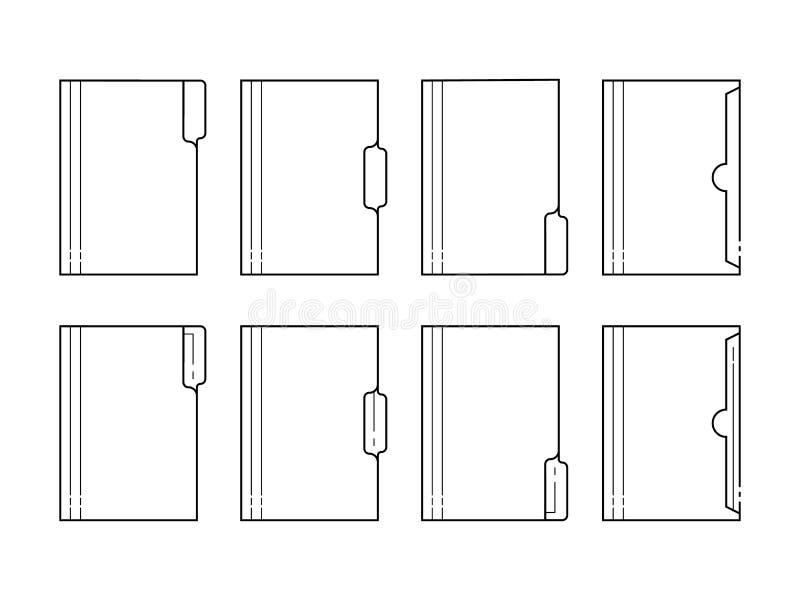 Tunn linje symboler för pappers- mapp stock illustrationer