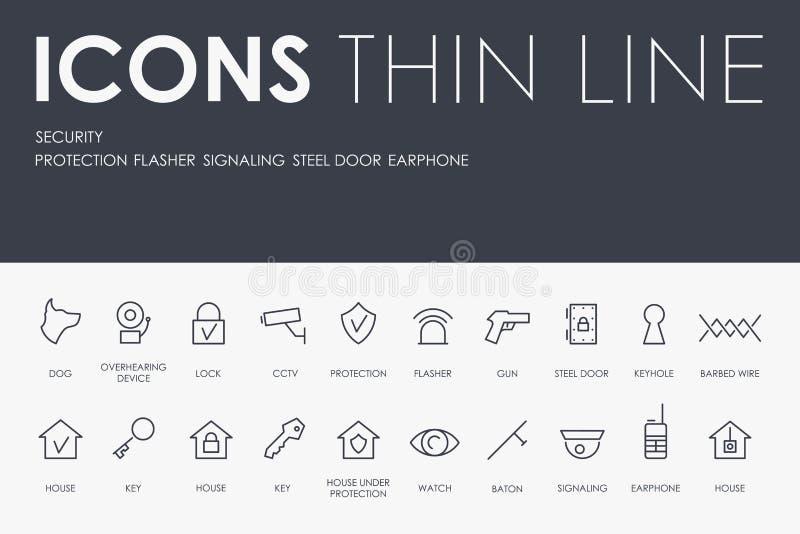 Tunn linje symboler för SÄKERHET royaltyfri illustrationer