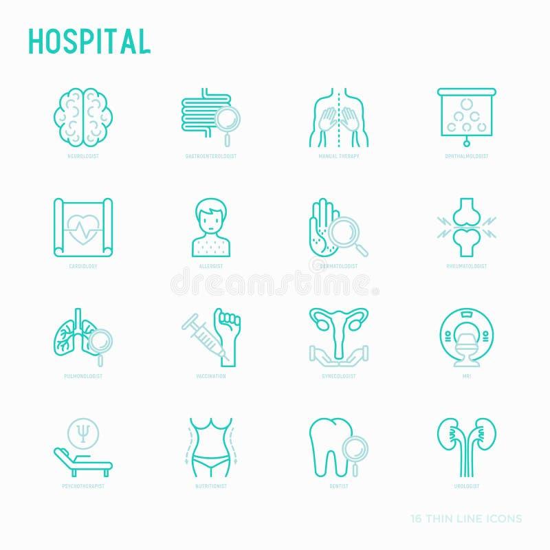 Tunn linje symboler för sjukhus för beteckningssystem för doktors` s royaltyfri illustrationer