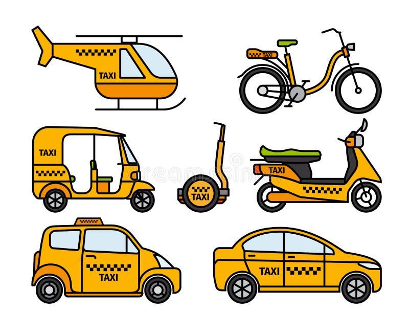 Tunn linje symboler för taxi vektor illustrationer