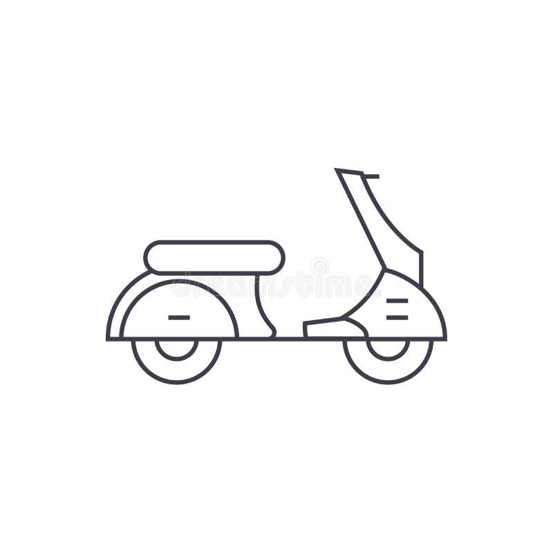 Tunn linje symbolsbegrepp för sparkcykel Linjärt vektortecken för sparkcykel, symbol, illustration vektor illustrationer