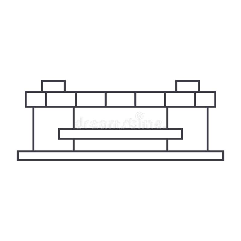 Tunn linje symbolsbegrepp för stadion Linjärt vektortecken för stadion, symbol, illustration stock illustrationer