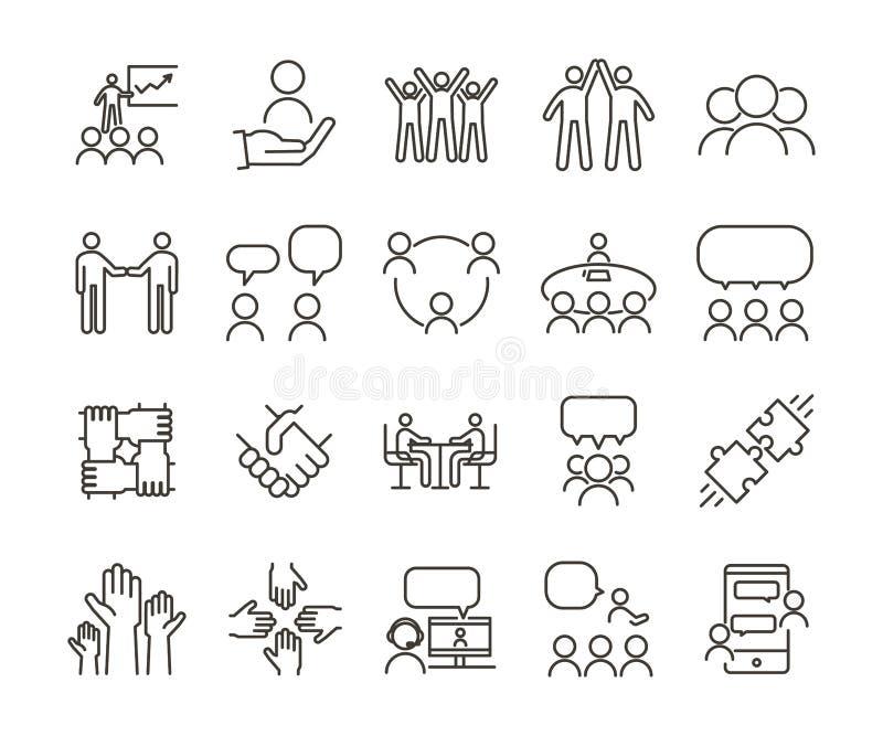 Tunn linje symbolsillustrationuppsättning för vektor Teamwork och folk som tillsammans påverkar varandra, meddelar och arbetar fö royaltyfri illustrationer