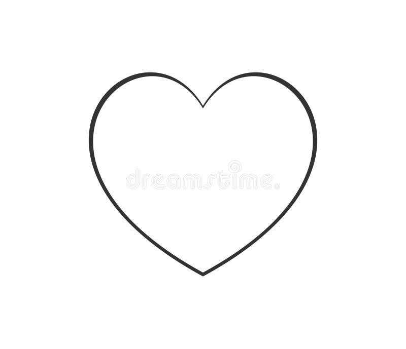 Tunn linje symbolslogo för hjärtaform Linjärt vektorsymbol på vit bakgrund royaltyfri illustrationer