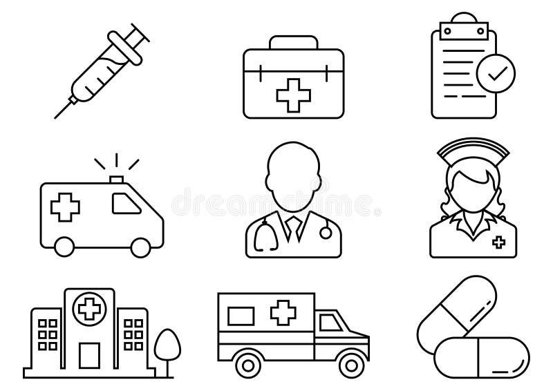Tunn linje symbolssjukhusuppsättning royaltyfri illustrationer