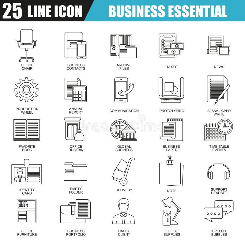 Tunn linje symbolsuppsättning av affärshjälpmedel, nödvändig utrustning för kontor stock illustrationer
