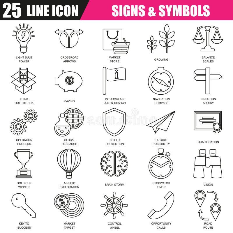 Tunn linje symbolsuppsättning av den olika affärsallsången och symboler royaltyfri illustrationer