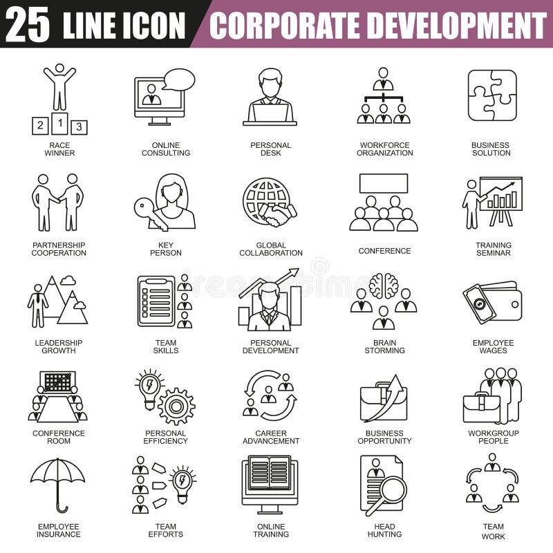 Tunn linje symbolsuppsättning av företags utveckling, affärsledarskapsutbildning och den företags karriären royaltyfri illustrationer