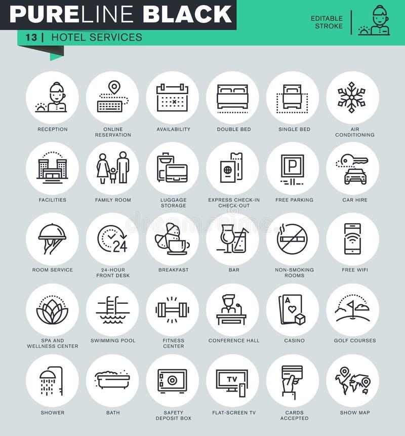 Tunn linje symbolsuppsättning av hotellservice och lättheter stock illustrationer