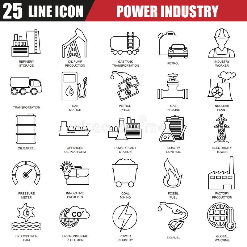 Tunn linje symbolsuppsättning av kraftverket, extraktion av olika resurser stock illustrationer