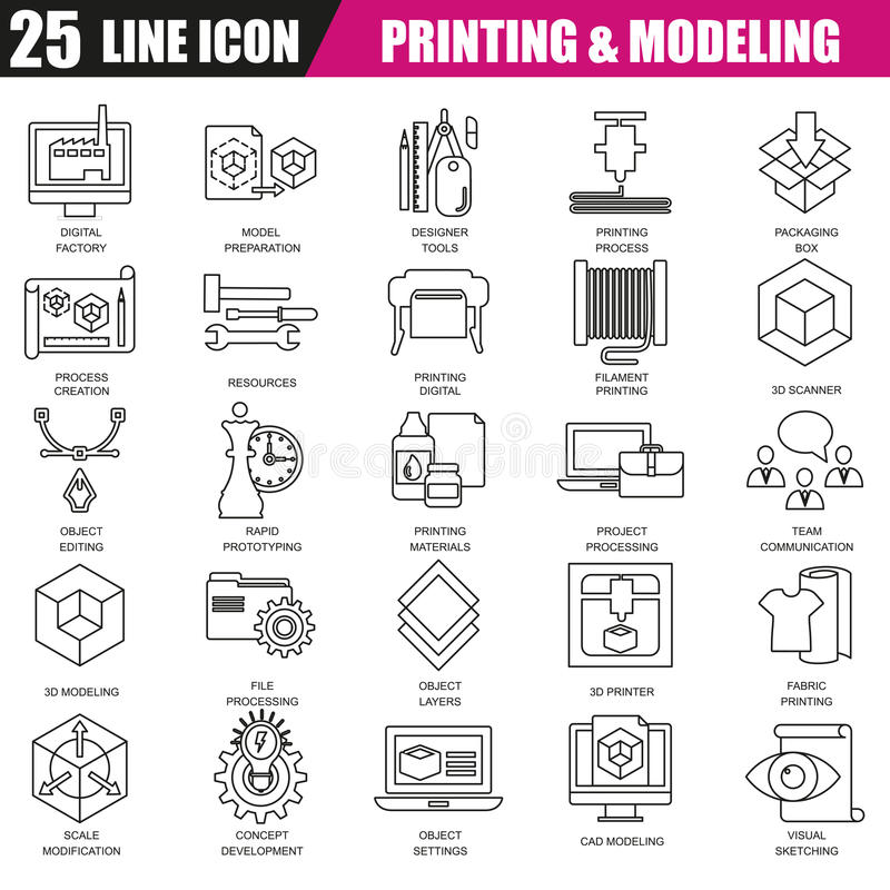 Tunn linje symbolsuppsättning av printing 3D och modellerateknologi stock illustrationer