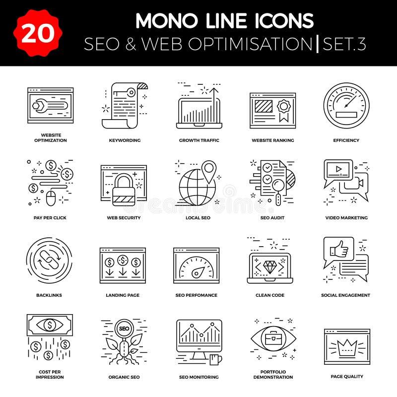 Tunn linje symbolsuppsättning av sökandemotorOptimization stock illustrationer