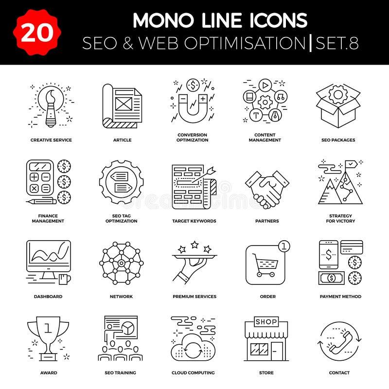 Tunn linje symbolsuppsättning av sökandemotorOptimization royaltyfri illustrationer