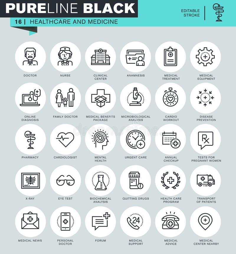 Tunn linje symbolsuppsättning av sjukvården och medicin royaltyfri illustrationer