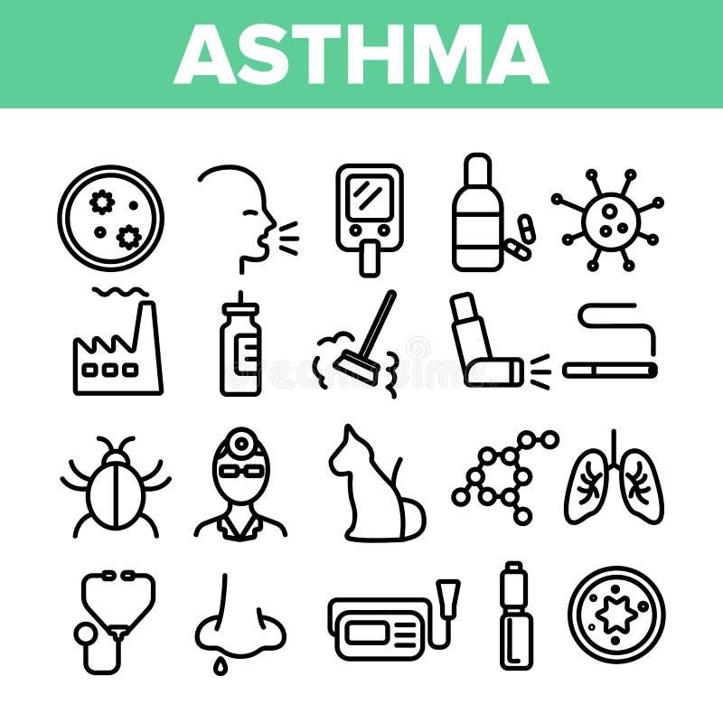 Tunn linje symbolsuppsättning för astmasjukdomvektor royaltyfri illustrationer