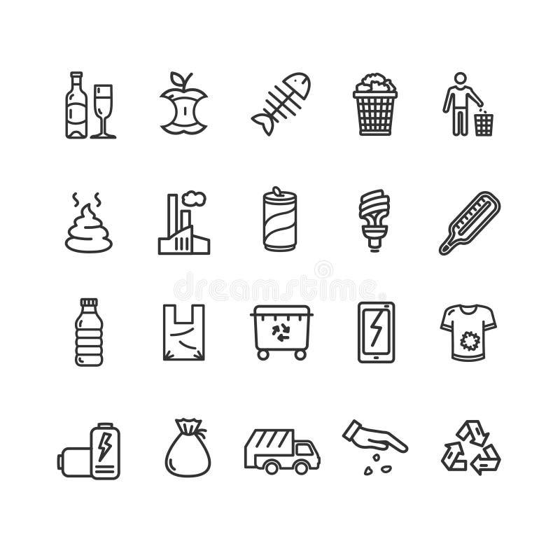 Tunn linje symbolsuppsättning för avfallteckensvart vektor stock illustrationer