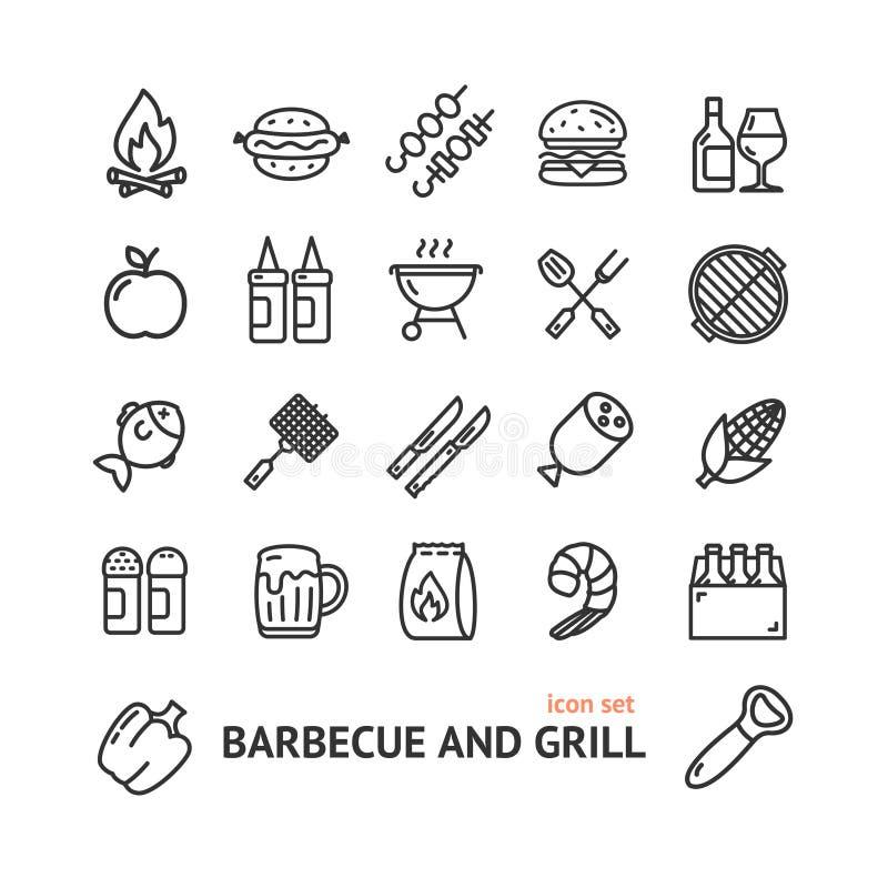 Tunn linje symbolsuppsättning för Bbq-teckensvart vektor royaltyfri illustrationer