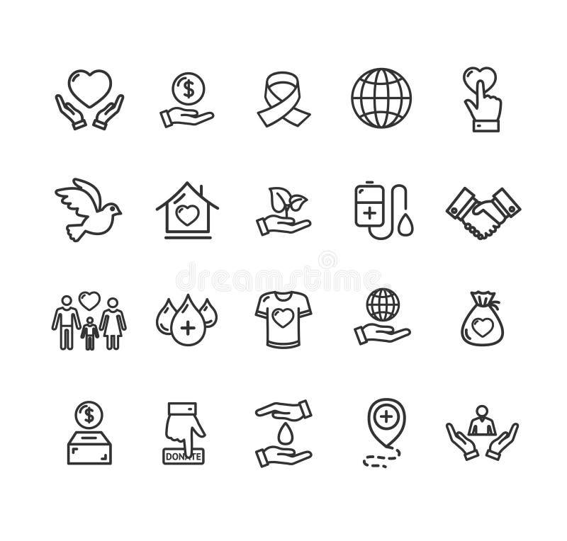 Tunn linje symbolsuppsättning för donationteckensvart vektor stock illustrationer