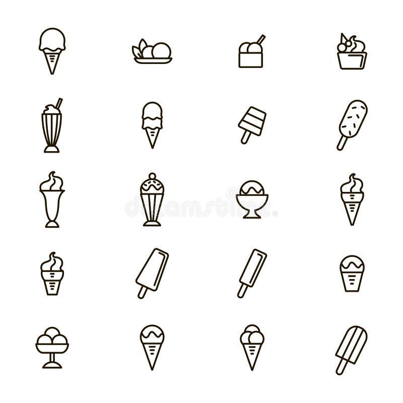Tunn linje symbolsuppsättning för glassteckensvart vektor royaltyfri illustrationer