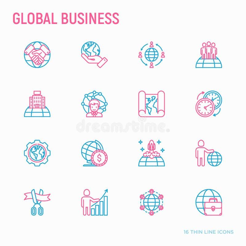 Tunn linje symbolsuppsättning för global affär vektor illustrationer