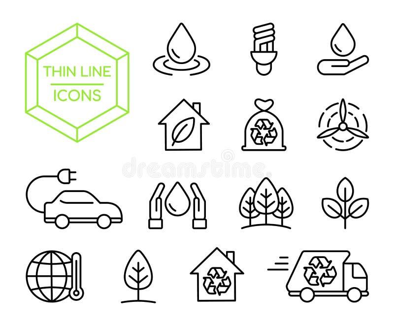 Tunn linje symbolsuppsättning för grön energinaturhjälp stock illustrationer