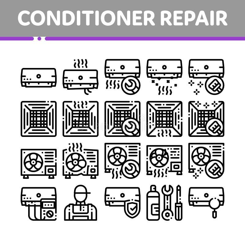 Tunn linje symbolsuppsättning för hårbalsamreparationsvektor stock illustrationer