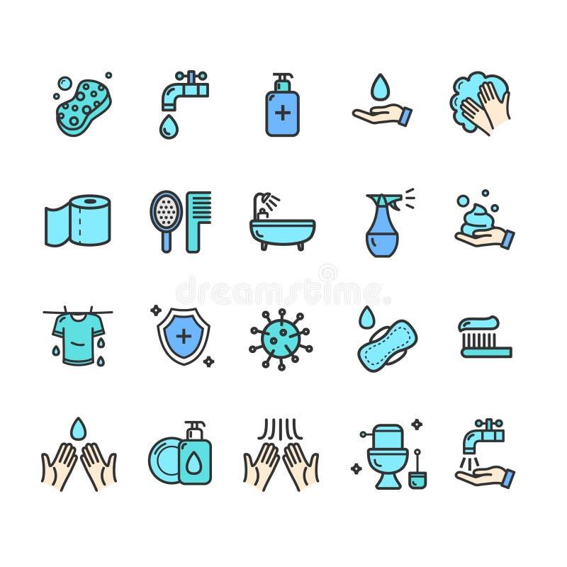 Tunn linje symbolsuppsättning för hygienteckenfärg vektor vektor illustrationer