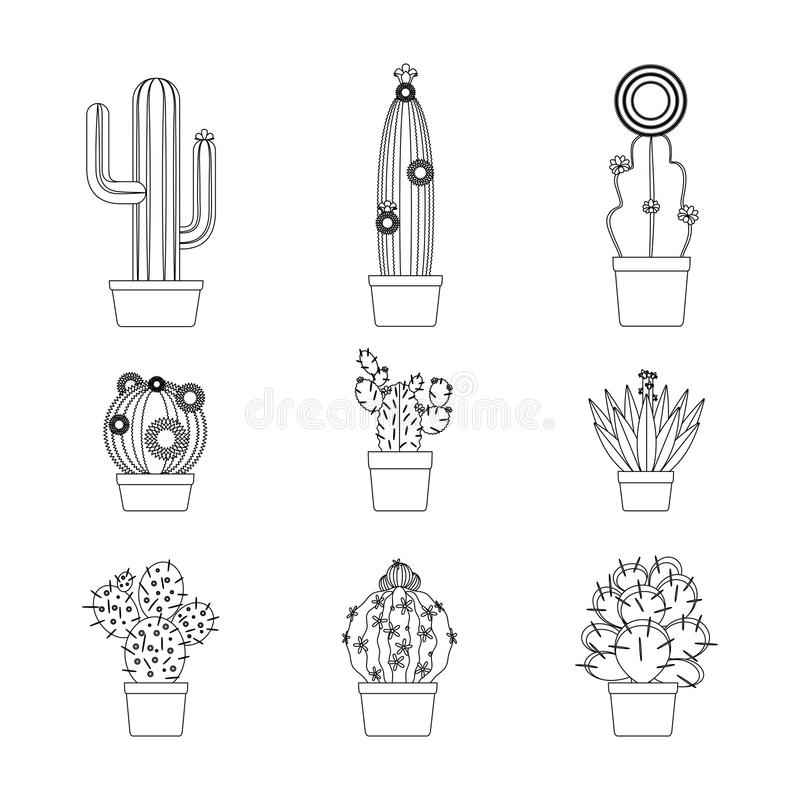 Tunn linje symbolsuppsättning för kaktus royaltyfri illustrationer