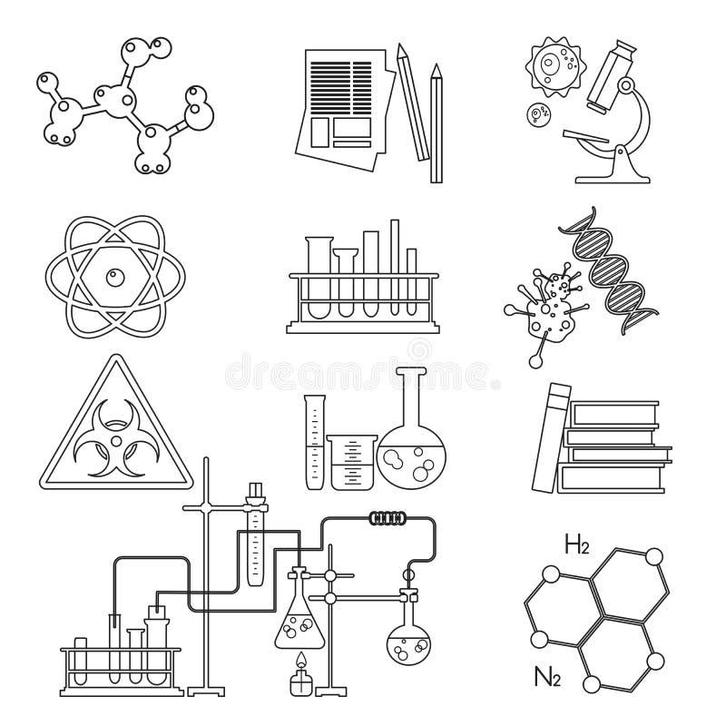 Tunn linje symbolsuppsättning för kemisk laboratoriumvetenskap och teknik Arbetsplatshjälpmedel stock illustrationer
