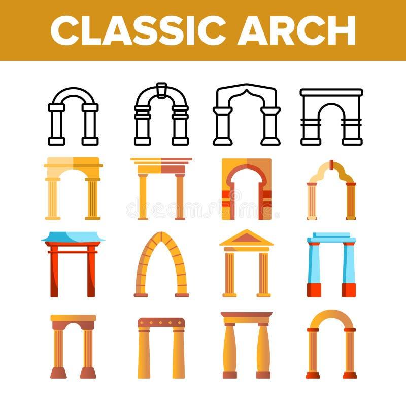 Tunn linje symbolsuppsättning för klassisk bågevektor stock illustrationer