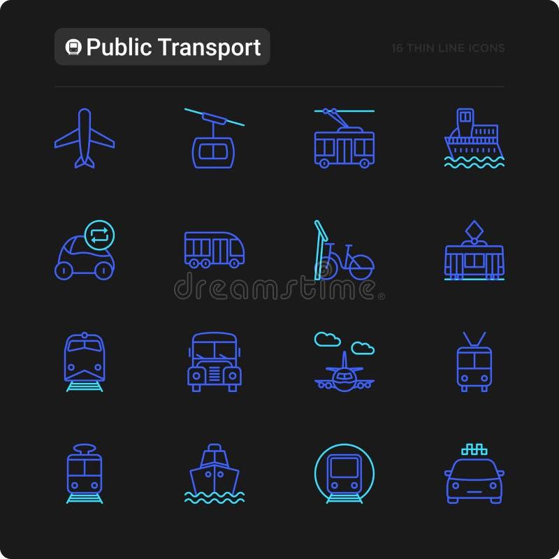 Tunn linje symbolsuppsättning för kollektivtrafik vektor illustrationer