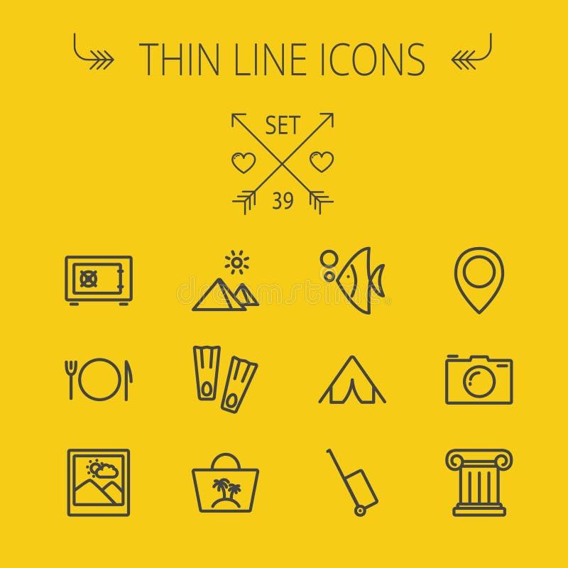 Tunn linje symbolsuppsättning för lopp vektor illustrationer