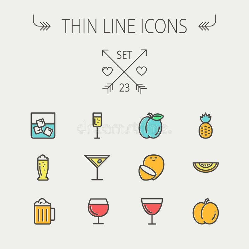 Tunn linje symbolsuppsättning för mat och för drink vektor illustrationer