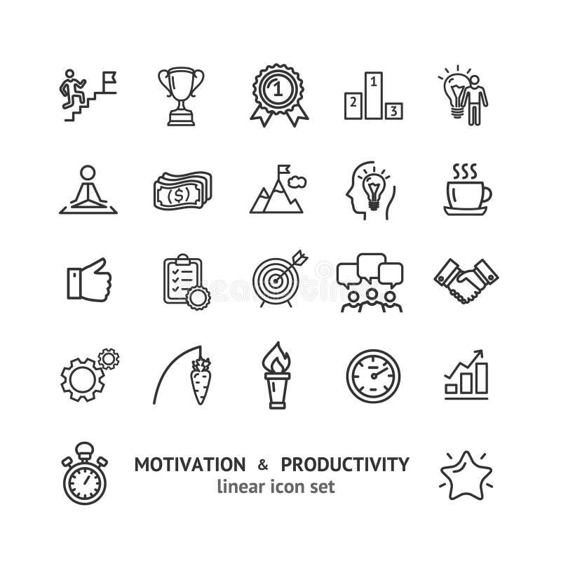 Tunn linje symbolsuppsättning för motivation- och produktivitetsteckensvart vektor stock illustrationer