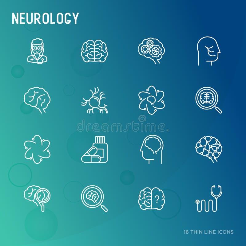 Tunn linje symbolsuppsättning för neurologi royaltyfri illustrationer