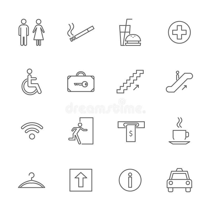 Tunn linje symbolsuppsättning för offentlig navigeringteckensvart vektor stock illustrationer
