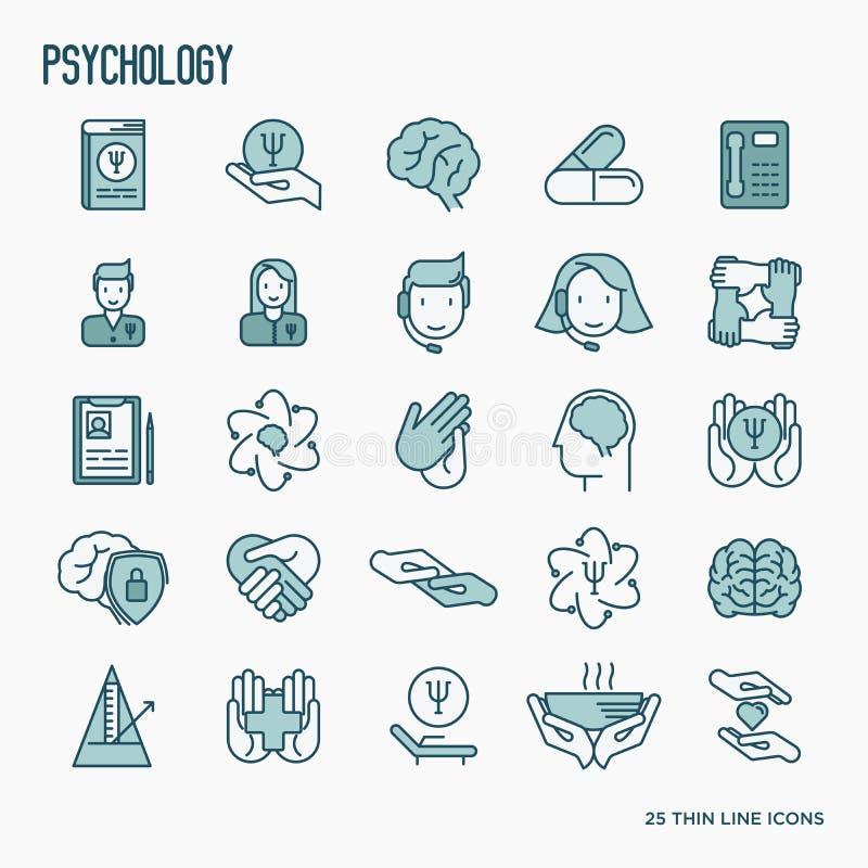 Tunn linje symbolsuppsättning för psykologisk hjälp stock illustrationer