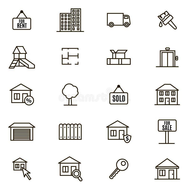 Tunn linje symbolsuppsättning för Real Estate teckensvart vektor stock illustrationer